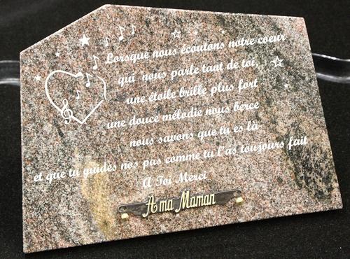 Plaque Funeraire Gravee En Granit Modele 5
